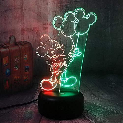 3D-LED-Lampe Nachtlicht Mickey Mouse hält einen Ballon-optischen Nachttisch Nachtlichter Kinderlampe zum Leuchten 16 Farbwechsel Fernbedienung USB-Kabel Dekoration Schreibtischlampen Weihnachtsbirt