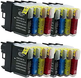 No-name Compatible Ink Cartridge Replacement for Brother LC-67 LC-980 LC-990 LC-1100 DCP-J515N DCP-J715N DCP-J125 DCP-J315W DCP-J515W Inkjet Printer (4 Black,4 Cyan,4 Magenta,4 Yellow)