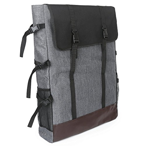 Sorliva Sac à dos et en bandoulière en toile pour peintre, multifonctionnel, pour bloc de dessin, chevalet et outils de peinture gris