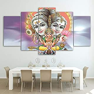Printed Modular Painting Wall Art Modern 5 Panel Lord Shiva Parvati Ganesh Pictures Home Decor Living Room Canvas Poster