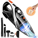 Handheld Vacuum Cordless, LOZAYI Portable Vacuum Cleaner with 9KPA High Power Cyclonic Suction, Washable HEPA Filter, LED Light, Bag and 4 Attachments,Rechargeable Wet/Dry Vac for Home/Car Cleaning