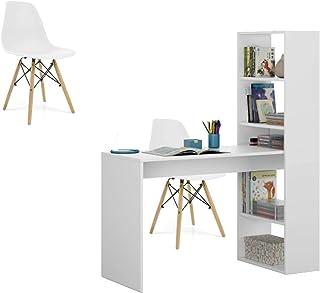 HABITMOBEL Pack Silla + Escritorios y Estantería Reversible Mesa de Ordenador Juvenil o para Oficina 120x52x72/144 cm Color Blanco Artiko