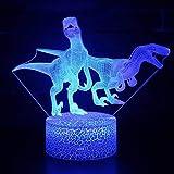 Dinosaurio Tyrannosaurus Rex Stegosaurus Dragon 3D Lámpara de mesa Led Sala de...
