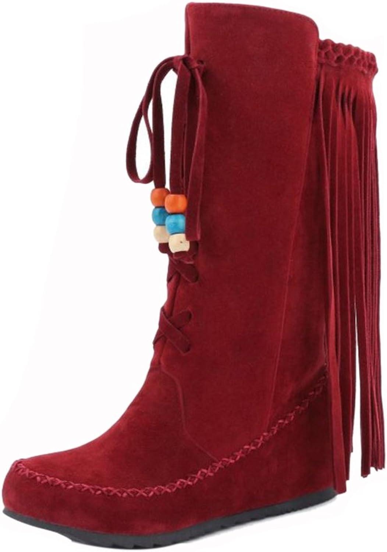 RizaBina Women Classic Pull On Mid Calf Tassel Half Boots