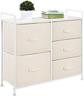 mDesign Tall Dresser Storage Tower - Sturdy Steel Frame, Wood Top, Easy Pull Fabric Bins - Organizer Unit for Bedroom, Hallway, Entryway, Closets - Textured Print, 5 Drawers - Cream/White