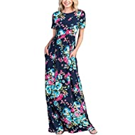 Lovezesent Women's Short Sleeve Criss Cross Back Floral Print Maxi Casual Dress