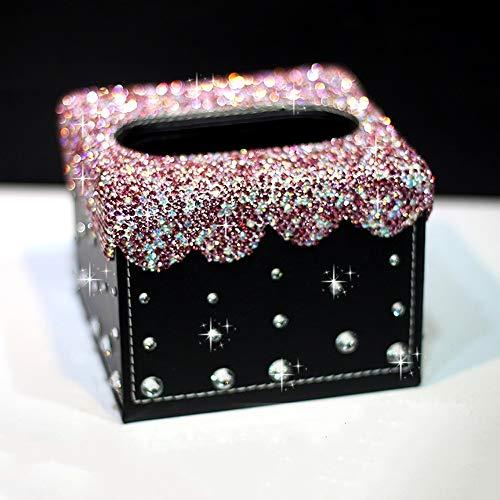 Caja de la PU de tejidos de piel cubierta de la plaza, de gama alta cristalina del diamante de diamantes de imitación de la servilleta del organizador del caso, sostenedor del tejido creativo de coche