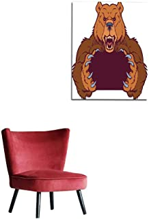 longbuyer Painting Post Brown Bear Mascot Holding with Claws Vector Template Mural 20