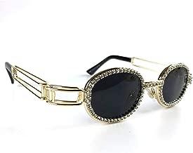 MINCL/Fashion Oval Metal Frame Luxury Diamond Brand Designer UV400 punk style Sunglasses