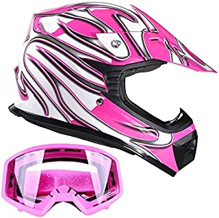 Typhoon Kids Youth Offroad Gear Combo Helmet & Goggles DOT Motocross ATV Dirt Bike MX Motorcycle Pink - Small