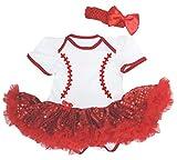 Petitebella Baseball Pattern White Bodysuit Red Sequins Tutu Nb-18m (12-18 Months)