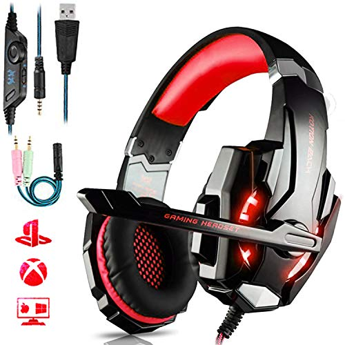 FUNINGEEK PC Headset, Gaming Headset mit Mic PS4 Gaming Kopfhörer für PS4 PC Xbox One Nintendo Switch, Headset für Laptop/Mac/Tablet/Smartphone mit LED Licht Stereo Surround Noise Cancelling (Rot)