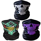Geila 3 Pack Seamless Skull Face Tube Mask Breathable Neck Warmer Face Cover