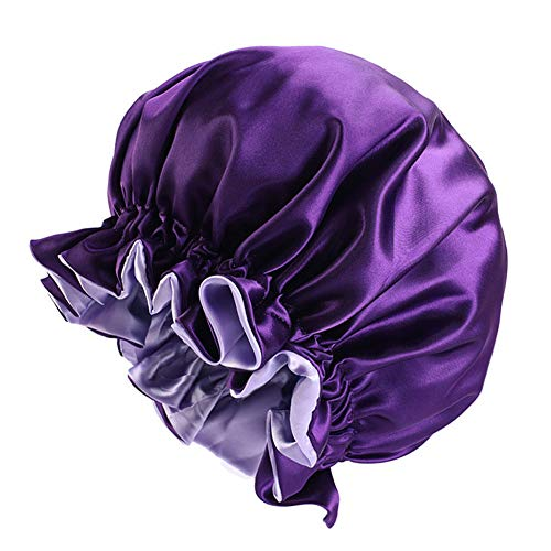 Solid Color Silky Satin Bonnet Cap,Bonnets for Women,Silky Bonnet for Curly Hair,Women Hair Wrap for Sleeping,Double Layers