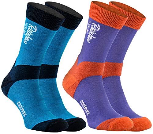 Rainbow Socks Pro - Femme Homme Antibactériennes Mérinos Coolmax Chaussettes Trekking - 2 Paire - Bleu-Orange Bleu-Navy Bleu - Taille UE 39-42