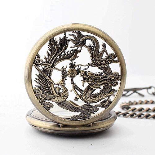 LYMUP Tradicional Nuevo Retro Reloj de Bolsillo mecánico Marea Masculina tirón Reloj de Bolsillo Hueco Abierto,Vapor