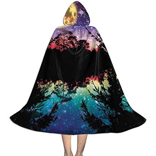 OKME Custom Manto De Bruja,Lago Luz De Luna Estrellas Cielo Nocturno Árboles Capa con Capucha Capa Disfraces para La Fiesta del Festival 88cm