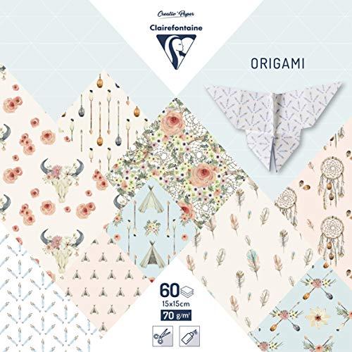 Clairefontaine 95348C Pack mit 60 Bögen Origamipapier (70 g, 15 x 15 cm, Bohème Chic) 1 Pack