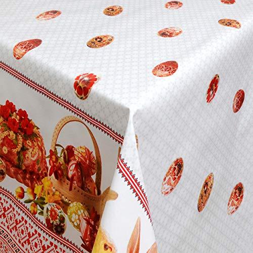 KEVKUS Wachstuch Tischdecke 01066-00 Ostern Ostereier Bordürenmuster wählbar in eckig rund oval (Rand: Paspel (mit Kunststoffband), 140 x 220 cm eckig)