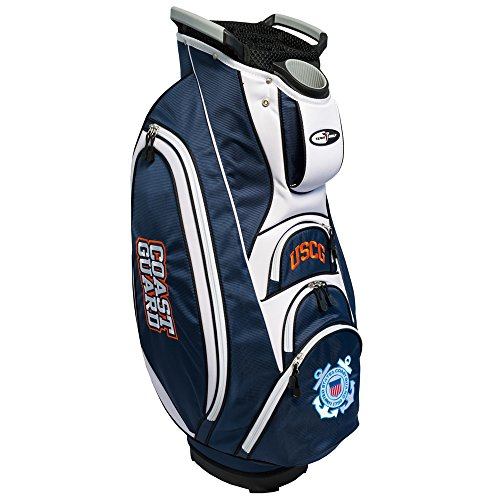 TEAM GOLF Military Coast Guard Victory Golf Cart Bag, 10-Way Top with Integrated Dual Handle & External Putter Well, Cooler Pocket, Padded Strap, Umbrella Holder & Removable Rain Hood