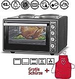 ICQN 42 Liter Mini ofen mit Kochplatten und Umluft | 3800 W | Innenbeleuchtung | Pizza-Ofen | Gitterrost | Individuell einstellbare Temperaturregelung | Emailliert | Gleichzeitig Kochen und Backen