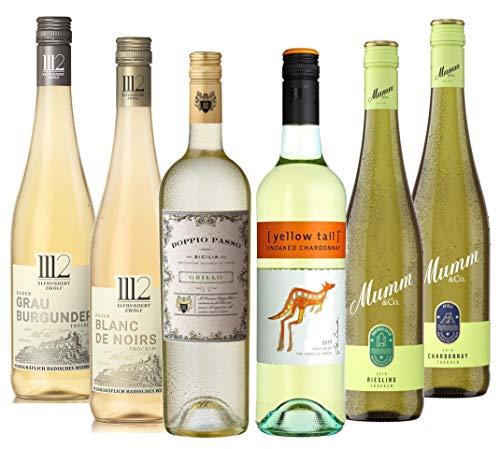 Weißwein PREMIUM Probierpaket (6 x 0,75l) – Trockene und halbtrockene Premium-Weißweine aus Deutschland, Italien und Australien im Probierpaket zum Genießen