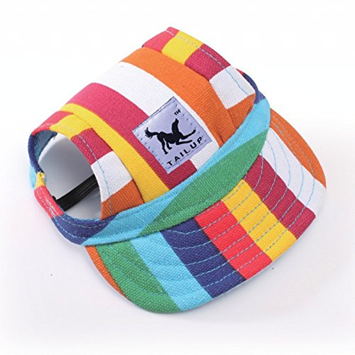 Leconpet Baseball Caps Hats with Neck Strap Adjustable Comfortable Ear Holes for Small Medium and Large Dogs in Ourdoor Sun Protection (M, Stripe)