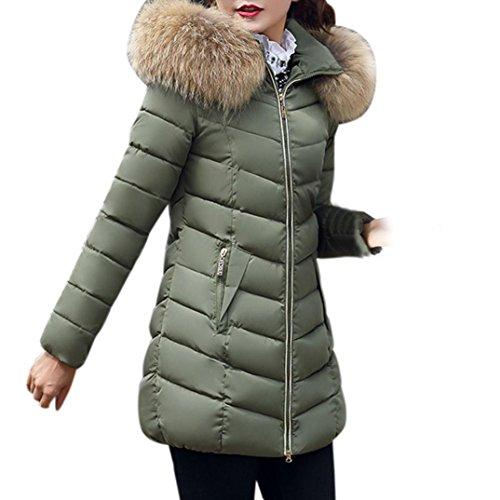 Manteau à Capuche Femme,LMMVP Mode Solide Femmes Occasionnels Plus Epais Manteau d'hiver Slim Down Veste Pardessus Poche zippée (S, armée verte)