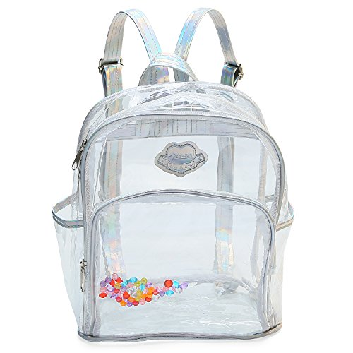 Zicac Girls Clear Mini Backpack See Through Laser Sequins Backpack Travel Casual Daypack