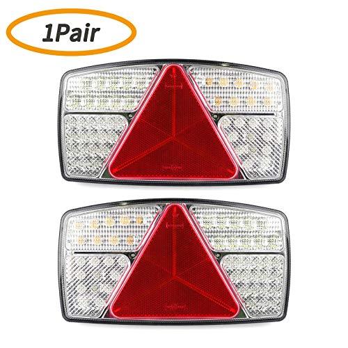 Yuanjoy 1 paire LED feux arrière de remorque lampe arrière de camion étanche universelle, 10~30 V, 53 puces LED x 2 pièces