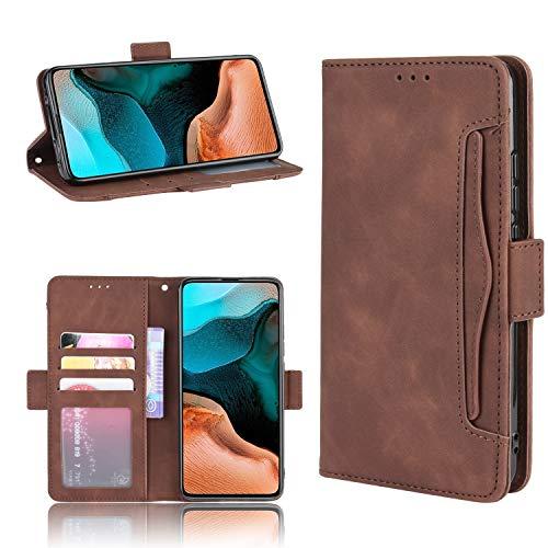 LODROC Xiaomi Redmi K30Pro Hülle, TPU Lederhülle Magnetische Schutzhülle [Kartenfach] [Standfunktion], Stoßfeste Tasche Kompatibel für Xiaomi Redmi K30 Pro Zoom - LOBYU0201012 Braun