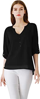 EFOFEI Womens Casual Long Sleeve Deep V Neck Tops Button Chiffon Shirt Blouse