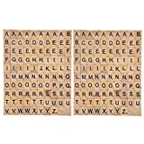 200 Piezas Madera de la Letra Azulejos Letras del Scrabble Juegos de Mesa Alfabeto Cuadrado Educativo Scrabble Letras para Joyas Hacer Manualidades