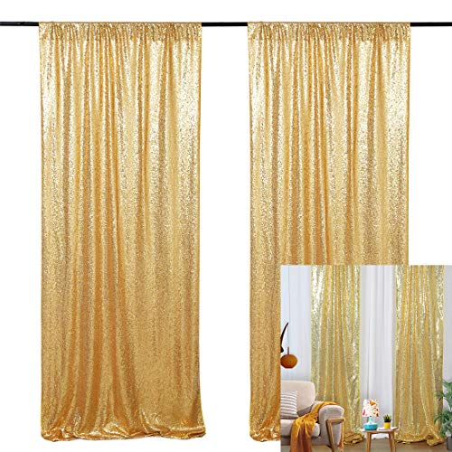 2ft x 8ft Gold Wedding Sequin Backdrop Curtain 2 Panel Glitter Backdrop Drapes for Photo Booth Wedding Reception Birthday Baby Shower Photography Backdrop Curtain