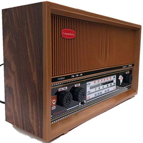 Radio Companheiro em Madeira Vintage Retrô 3 Faixas AM FM e FMW - CRMIF-31