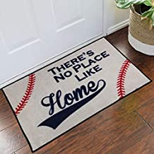 FloorMatShop Baseball There's No Place Like Home Novelty Carpet Nylon Indoor Welcome Entrance Mat Approx. 2' x 3' Surged Edge Made in The USA