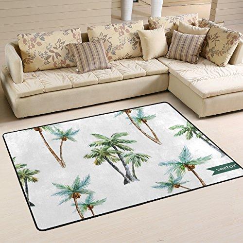 Ingbags Noix de coco arbres Salon salle à manger Zone Rugs 3 x 2 pieds Chambre Rugs Bureau Tapis moderne Tapis de sol Tapis Home Decor, multicolore, 3 x 2 Feet