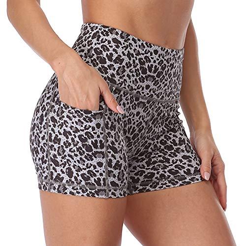 OUYISHANG High Waist Athletic Yoga Shorts Side Pockets,Workout Running Gym Biker Tummy Control Short for WomenY012-black Leopard-S