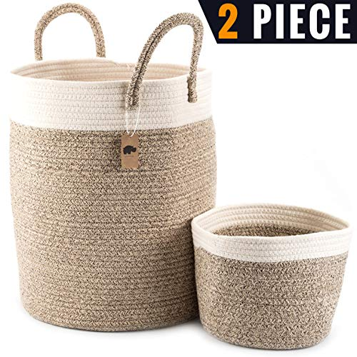 Little Hippo 2pc Large Cotton Rope Basket 16quotx14quot 100% Natural Cotton Rope Basket Woven Storage Basket Large Basket Blanket Basket Living Room Toy Basket Pillow Basket Round Basket
