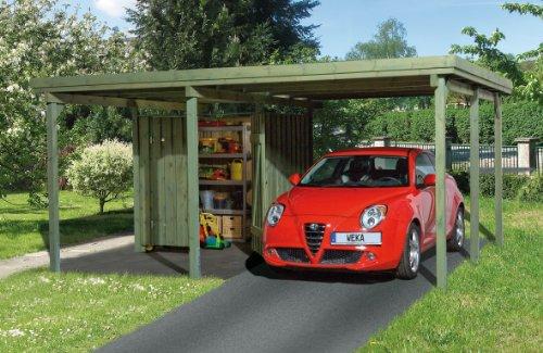 Weka Carport 607 Größe 1 kdi Carport mit Geräteraum