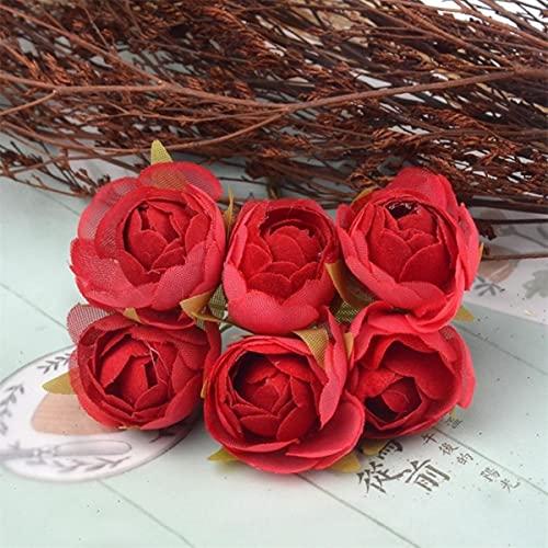 6 unids / Lote Ramo de Flores de Rosas de té de...