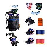 Gifts2u Kit pour pistolet Nerf N-Strike Elite Series avec gilet tactique pour enfant, 20 munitions, lunettes de protection, masques, recharge rapide à 6 munitions, 2 bracelets et sac banane