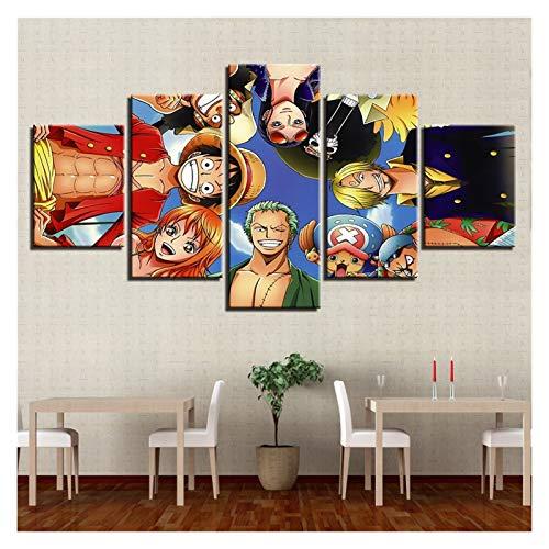 WENYOG Cuadro En Lienzo Lienzo Painting Wall Art Fotos 5 Piezas One Piece Animation Personajes Decoración para el hogar Sala de Estar HD Impreso Posters