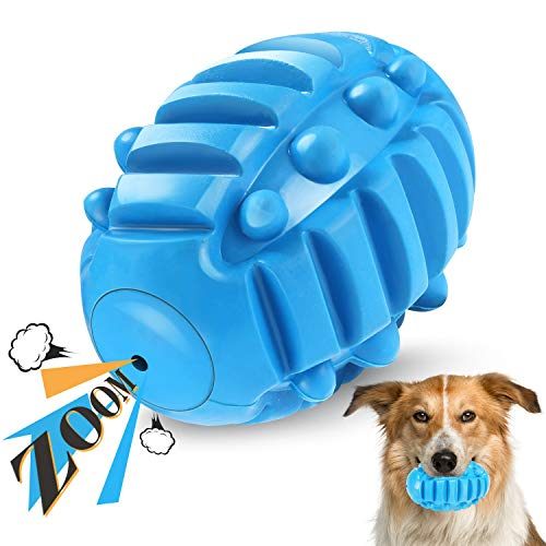 DXCEL Squeaky Dog Toys for Aggressive Chewers with Built-in Squeaker, Dog Chew Toy Balls with Durable Natural Rubber, Puppy Indestructible Pet Puzzle Toy for Medium and Large Breed