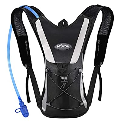 KUYOU Hydration Pack with 2L Hydration Bladder Water Rucksack Backpack Bladder Bag Cycling Bicycle Bike/Hiking Climbing Pouch (Black)