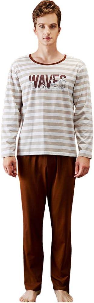 LZJDS Mens Pyjama Set Cotton Long Sleeve Stripe Top & Pants PJ Set Sleepwear Nightwear Loungewear M-XXL,Flax White Strips,XXL