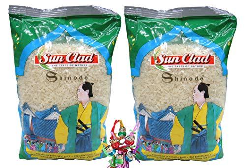 yoaxia ® 2er Pack - [ 2x 1kg ] SUN CLAD Shinode Sushi Reis / Sushireis / Sushi Rice + ein kleines Glückspüppchen - Holzpüppchen