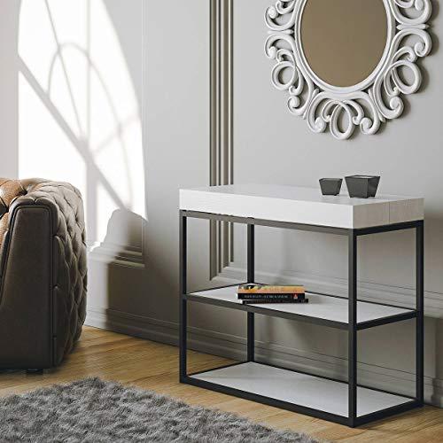 Itamoby Plano 90cm Consolle Allungabile, Pannelli di nobilitato, Bianco Frassino/Antracite, L.90 x P.40 x H.77