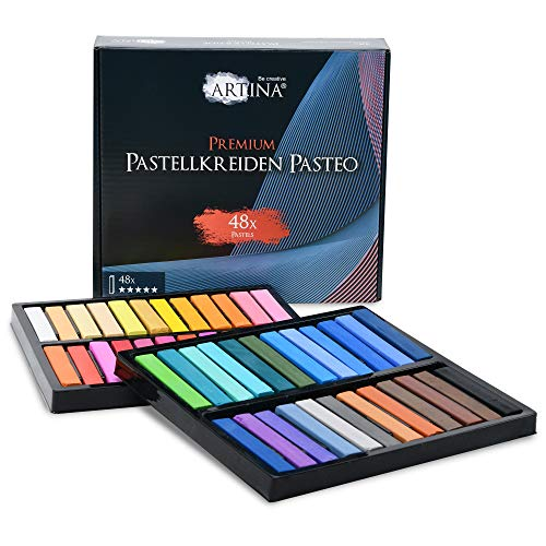 Artina Pasteo Master Series Soft Pastel - Tiza Pastel - Calidad de Estudio - Set de 48 Colores con Caja