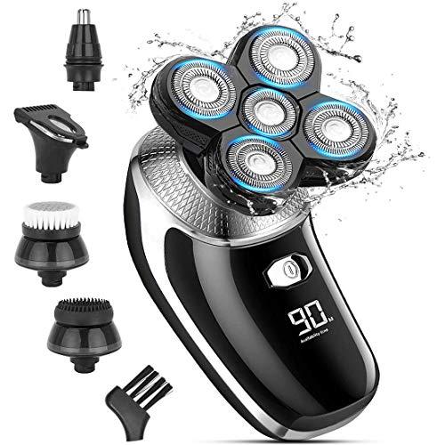 Elektrischer Rasierer für Männer, 5-in-1-Kopfrasierer für kahlköpfige Männer, Elektrischer Rotations-Rasierapparat IPX7 - wasserdicht, mit LED-Display und schnell per USB aufladbar